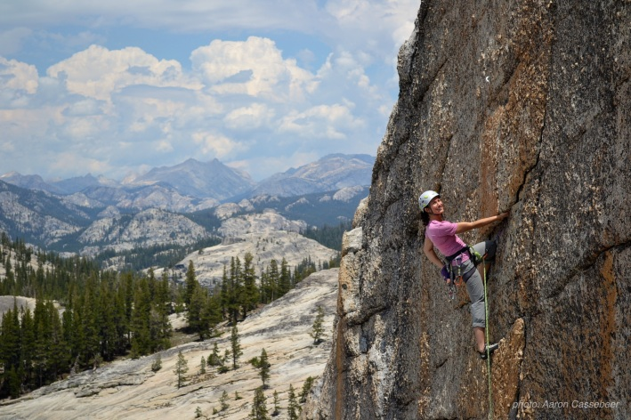 Paisley climbing in Tuolumne Meadows, Yosemite National Park