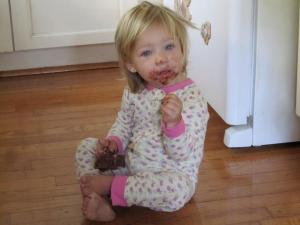 Paisley's niece, Emma, with one of her favorite foods: Nutella.