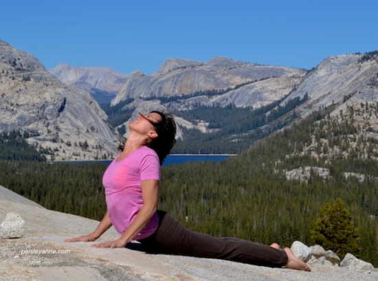 Bhujangasana at Olmstead Point, Yosemite National Park