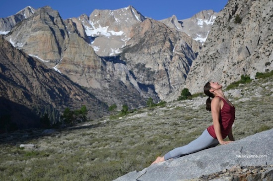 Urdhva Mukha Shvanasana at Pine Creek Canyon (on a slanted slab of granite!)