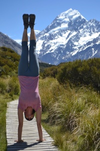 Handstand on the trail to Aoraki, New Zealand