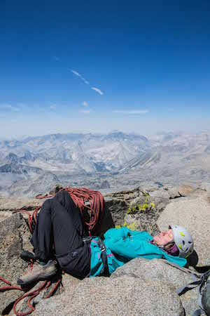 Taking a nap on the summit of North Palisade, at 14,249'
